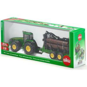 VOITURE - CAMION SIKU Tracteur John Deere avec Remorque Forestière