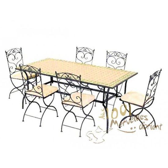 Ensemble Table 180 90 Cm Et 6 Chaises Marocain Achat Vente