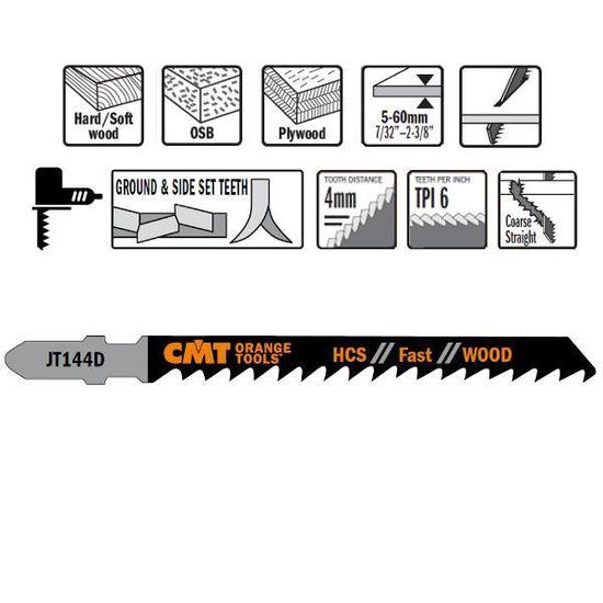 Lot de 5 lames de scie sauteuse T744D en acier carbone 6 TPI 150 mm de longueur de travail droite coupe rapide en T pour bois et plastique