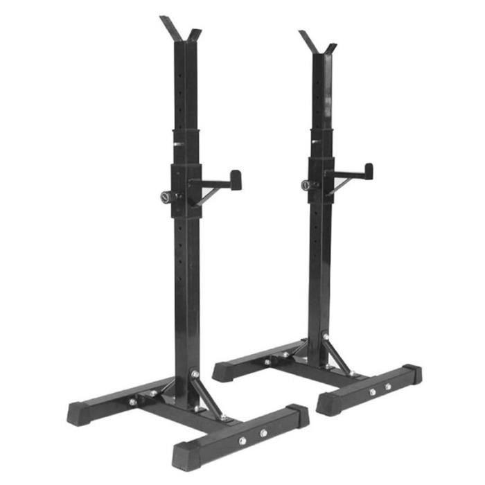 HUGUANGh® Barbell rack hauteur 105-160cm réglable multifoctionne Support de squat haltère noir