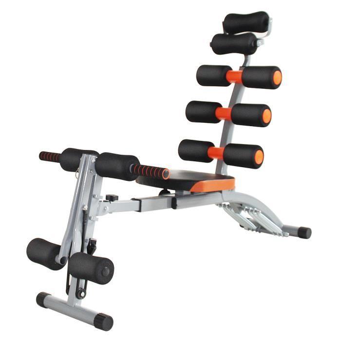 GMM® Banc musculation abdo sport 6 en 1 + tendeurs pour bras réglable