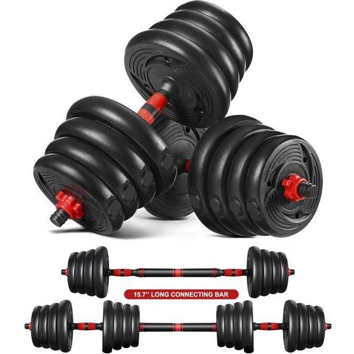 MOVTOTOP - 2 en 1 Haltère 30kg poids ajustables - (4 x 2.5 kg / 2 kg / 1.5kg / 1.25kg) - Noir