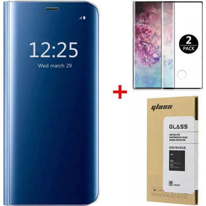 Coque Samsung Galaxy Note 20 et [2 Pack] Verre trempé 3D Déverrouillage d'empreintes digitales, Miroir Flip Case Housse Étui pour