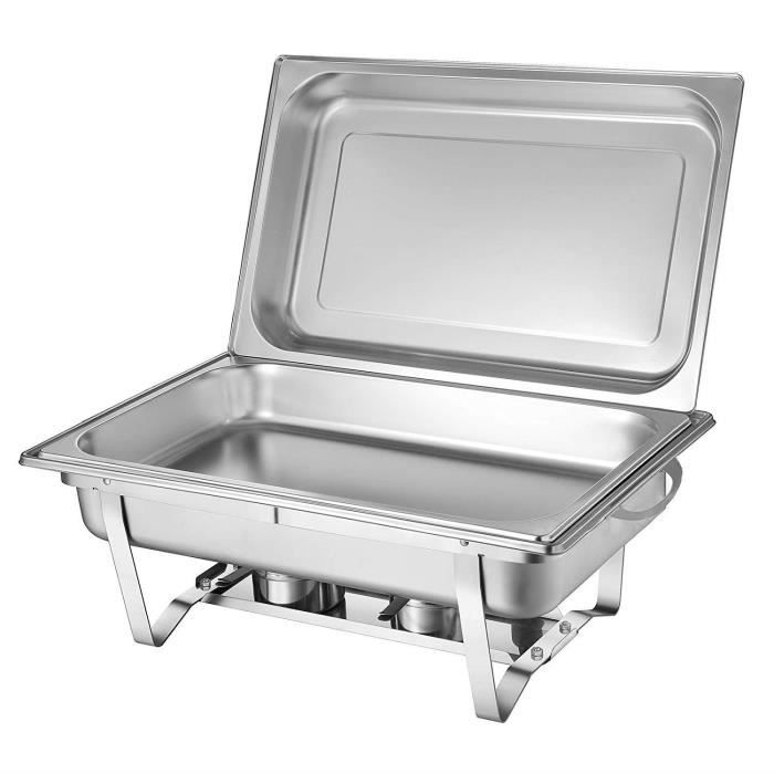 1 GRANDE Poêle Buffet Server/Warmer/plaque chauffante, Chauffe-plat avec couvercle en acier inoxydable, eau, poêle, aliments, poêle