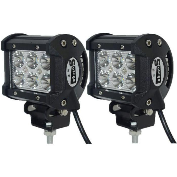 2pcs 18W LED Cree barres de lumière voiture spot offroad camions de travail brouillard conduite lampe 4X4 4WD ATV 12V 24V