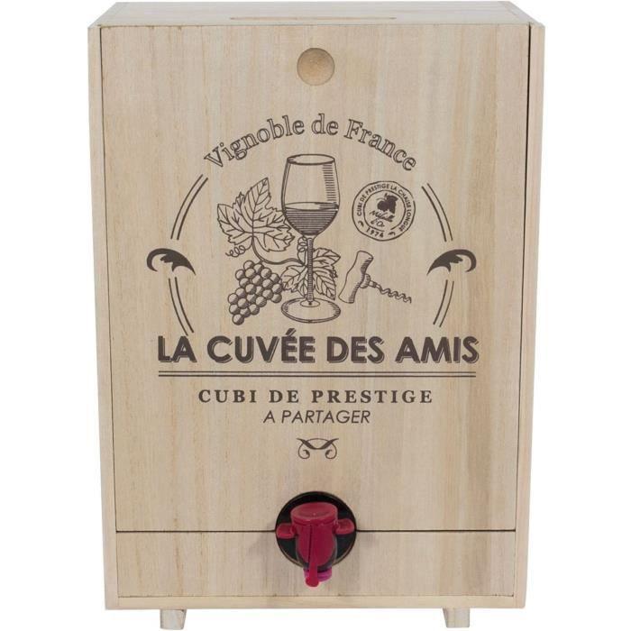 10ViN 39-1K-017 Distributeur Fontaine à boisson Cave Cache-cubis La cuvée des amis Bois Beige H31 x 16 x 22 cm