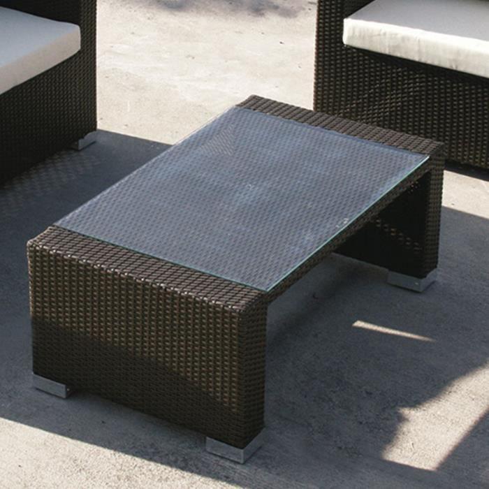 Table basse de jardin en résine tressée marron ADONIS