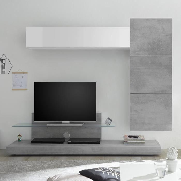 Ensemble meuble tele gris béton et blanc laqué CERANO Gris L230 x P 190 x H 50 cm