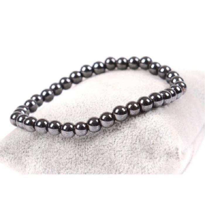 Bracelet perles noires hématites