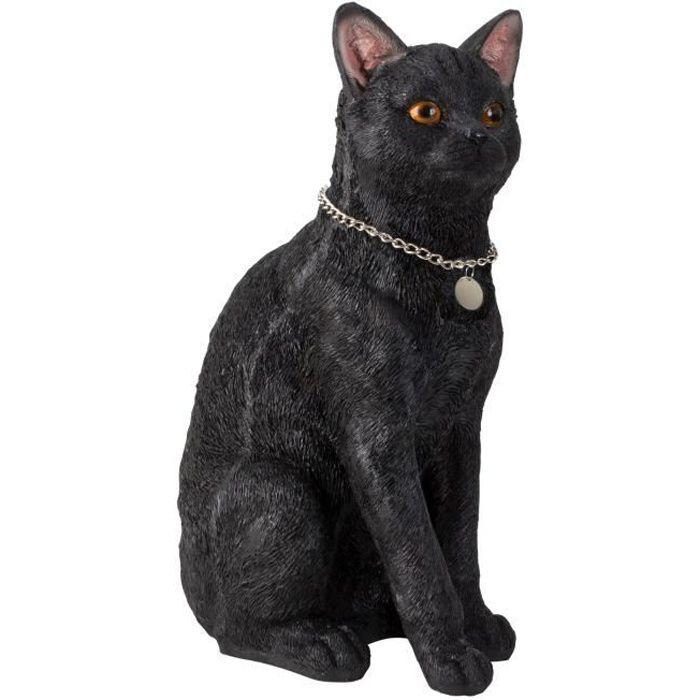 Grande sculpture Figurine Déco Chat en pierre artificielle noire avec pendentif en argent Hauteur 40 cm Largeur 25 cm
