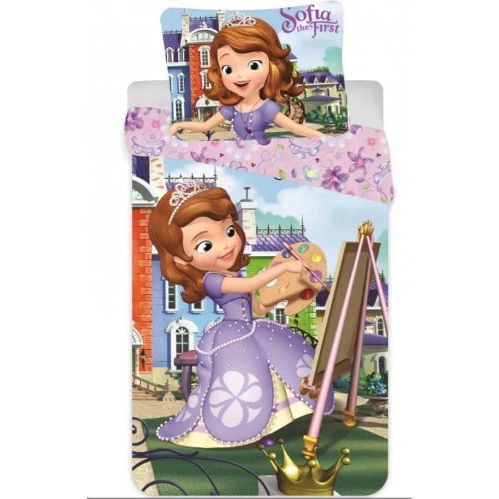 parure de lit princesse Sofia Disney 100% coton Housse de couette et taie d'oreiller petit lit