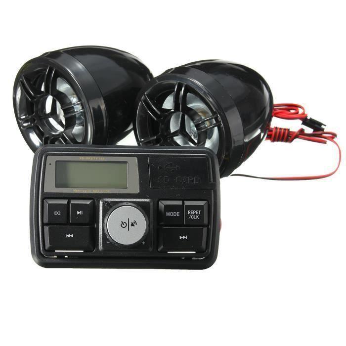 Autoradio FM Stéréo Moto Audio Amplificateur Haut-Parleur MP3 Alarme Anti-Vol Bo45326