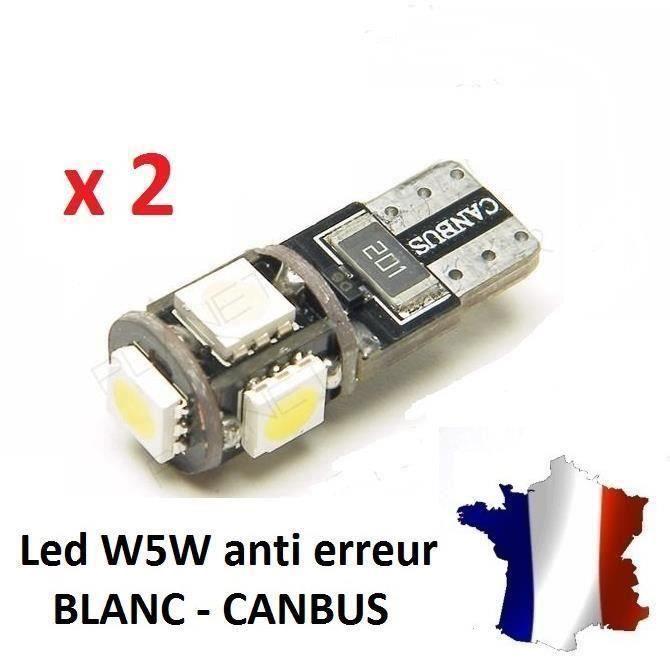 2 Veilleuses LED W5W T10 Canbus ANTI ERREUR ODB 6500k XENON 5 SMD voiture moto