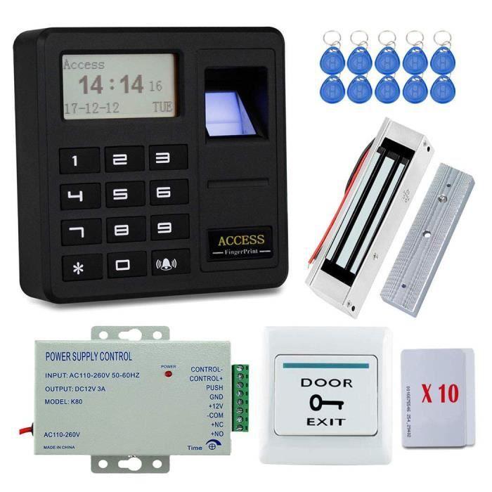 YAVIS Kit Complet biométrique Système de contrôle d'accès d'empreinte Digitale RFID avec Serrure magnétique électrique 180KG DC12