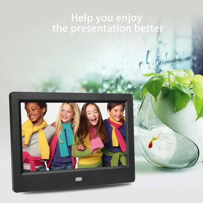 DBA Cadre photo à DEL, Cadre réveil avec cadre photo numérique à écran LCD HD 7 -, lecteur MP3 - 4 films (prise UE)