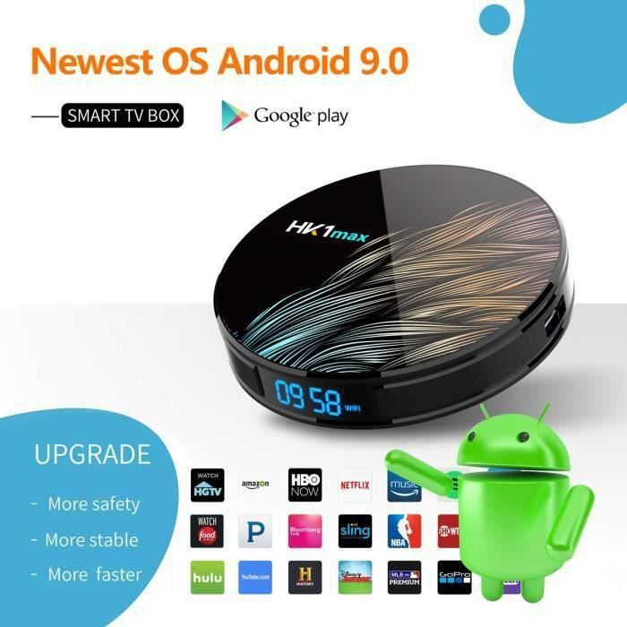 Android 9.0 TV Box 4K[4GB RAM 64GB ROM] Boîtier TV Bluetooth 4.1 Android TV Box USB 3.0 HK1 Max RK3328 Quad-Core 64bit Wi-FI 2.4G/5G