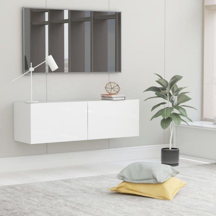 Meuble TV Mural Design Tendance Contemporain - Avec 2 Portes Abattantes - Blanc brillant Aggloméré - 100x30x30 cm