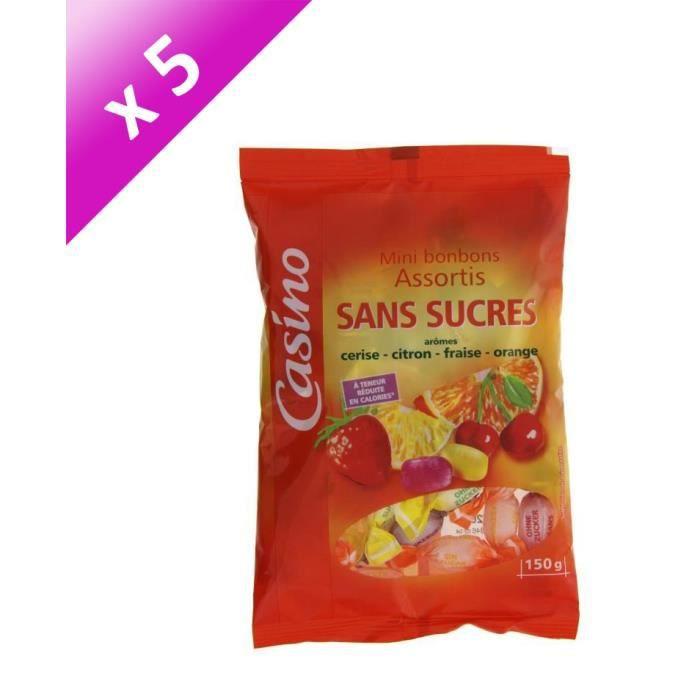 [LOT DE 5] Mini bonbons assortis, sans sucres, arômes fruits - 150 g