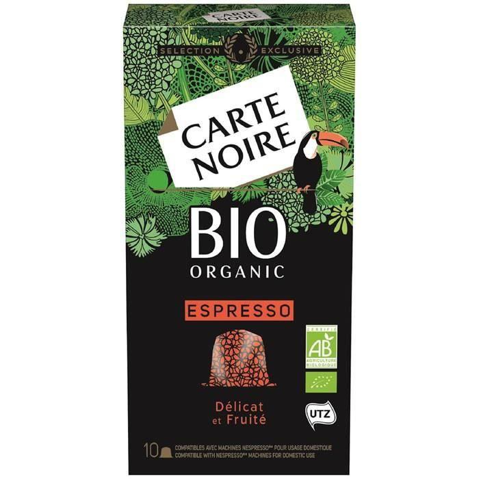 LOT DE 8 - CARTE NOIRE : Espresso - 10 Capsules de café bio 53 g