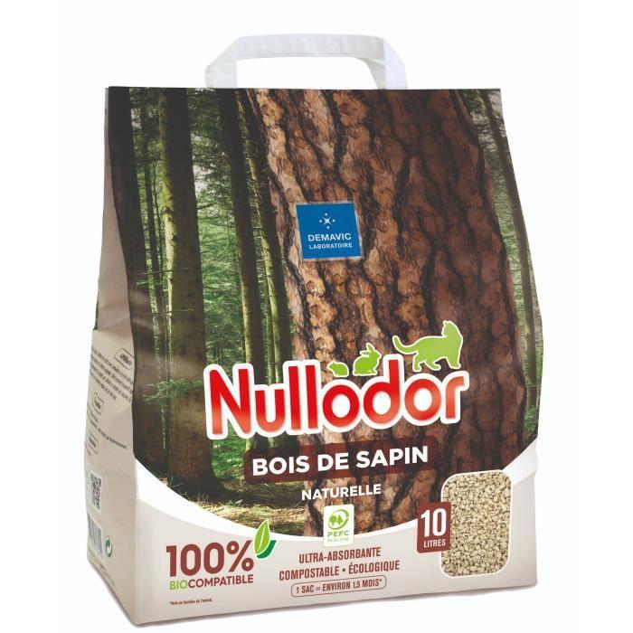 NULLODOR Litière Bois de sapin par DEMAVIC - 10 L - 4,4 kg