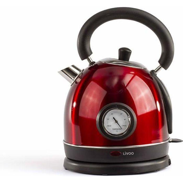 LIVOO DOD157 Bouilloire rétro avec thermomètre - Rouge