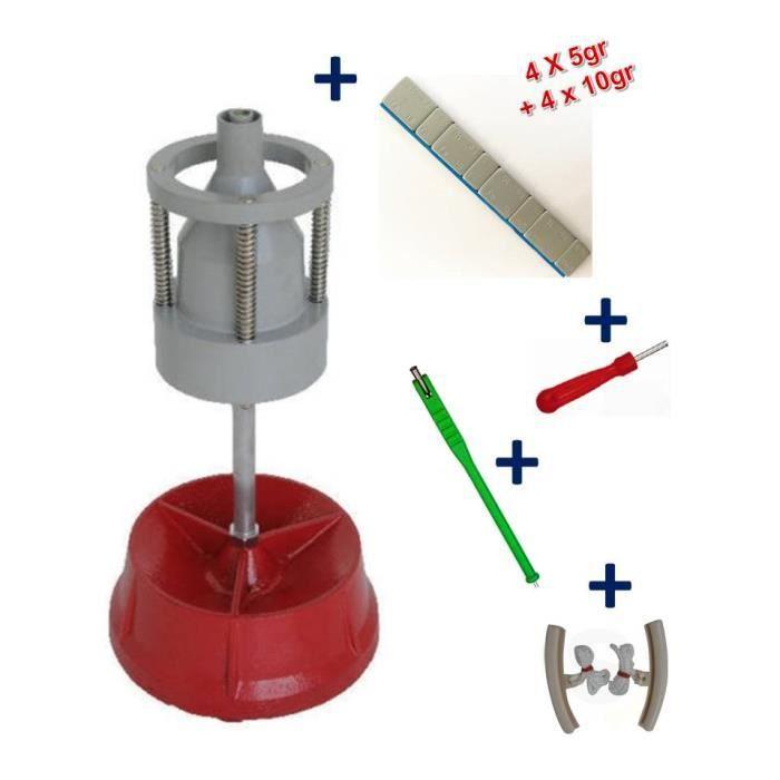 Equilibreuse de Roue Manuelle Portable avec Centreur + 100 Barrettes Plombs Adhésifs 4x5g+4x10g+ Kit Equilibrage Roue