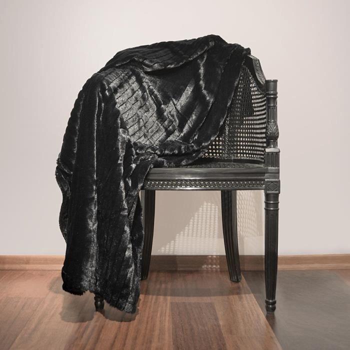 Plaid fausse fourrure Loup Noir 150 x 180 cm