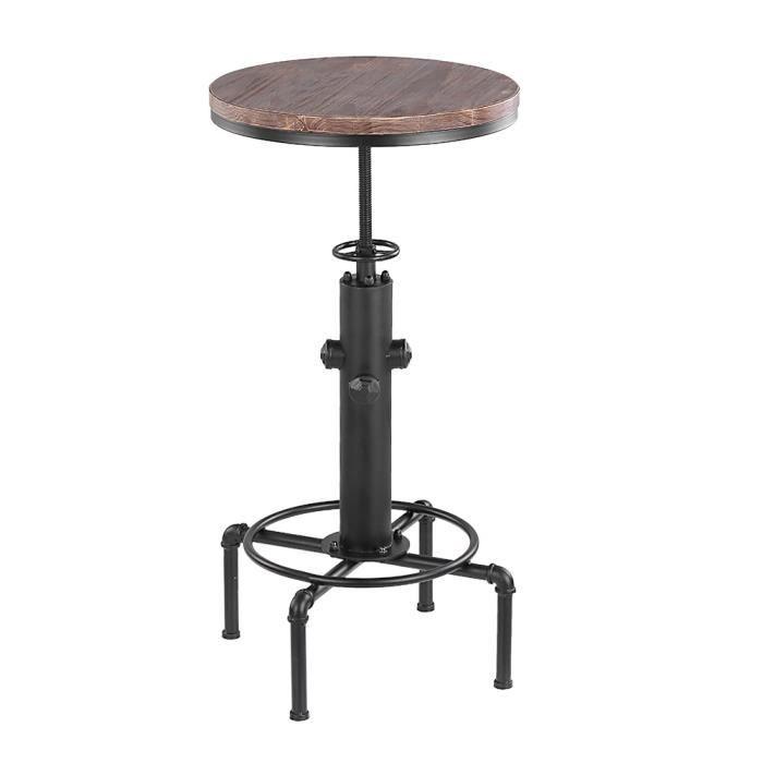 iKayaa Table de bar style industriel en bois et acier