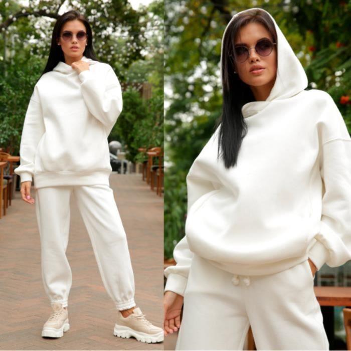 Survêtement Femme Ensemble 2pcs Manches Longues Sweatshirts avec Doublure Chaude Sweat à Capuche et Pantalon pour Jogging Sports