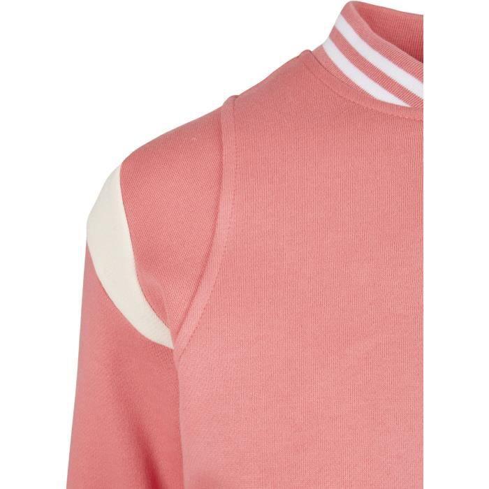Veste femme Urban Classics inset college-grandes tailles - rose/blanc - 5XL