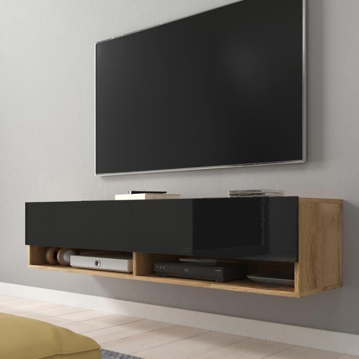 Meuble TV / Meuble de salon - WANDER - 140 cm - sans LED - chêne wotan / noir brillant - design moderne