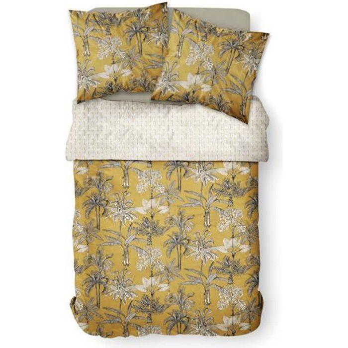 Parure de lit 2 personnes 220X240 Coton imprime jaune Floral SUNSHINE