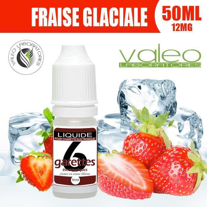 E LIQUIDE 50ML – FRAISE GLACIALE 12mg DE NICOTINE - 6GARETTES