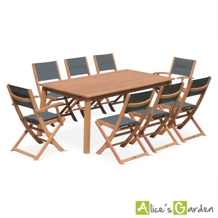 salon de jardin en bois almeria grande table 180 240cm rectangulaire avec allonge papillon 2. Black Bedroom Furniture Sets. Home Design Ideas
