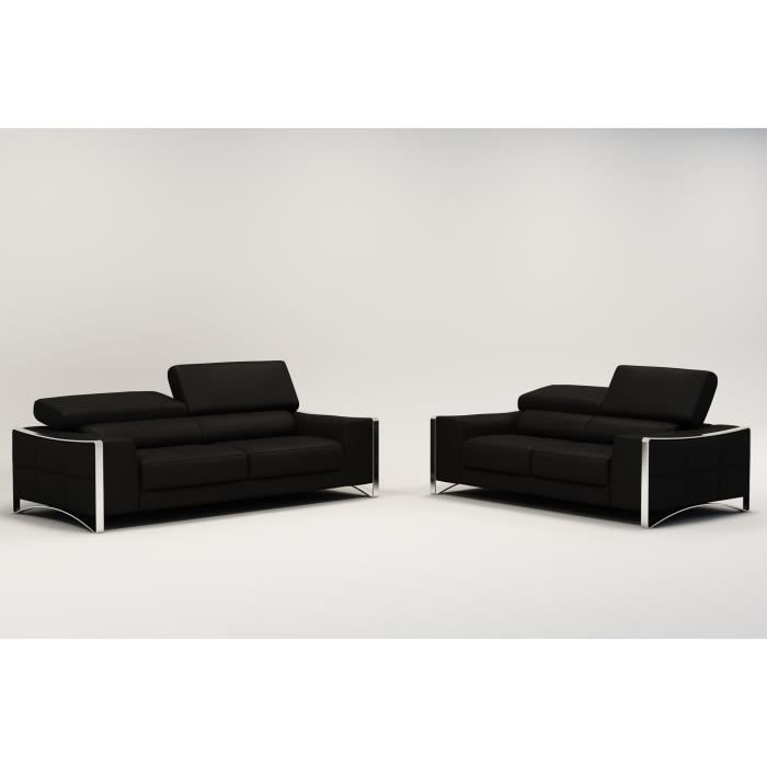 ensemble canap cuir 3 2 places noir sheyla achat. Black Bedroom Furniture Sets. Home Design Ideas