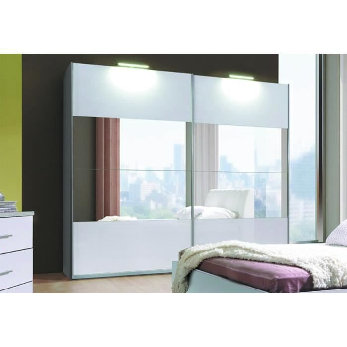 armoire 2 portes coulissantes verona blanche laqu e avec. Black Bedroom Furniture Sets. Home Design Ideas