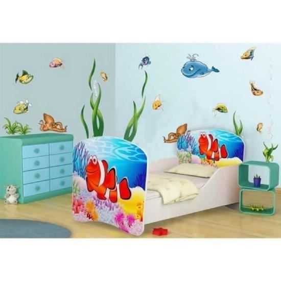lit enfant poisson clown sommier matelas 140x70 cm. Black Bedroom Furniture Sets. Home Design Ideas