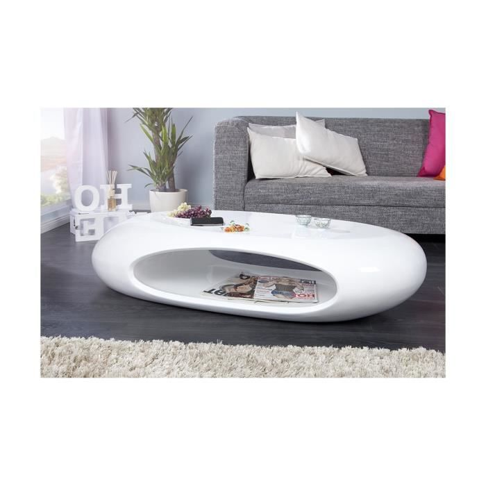 Table basse design galet ii blanc laqu blanc achat for Achat galet blanc