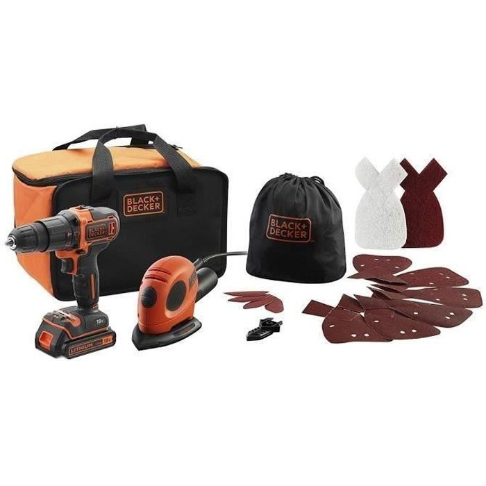 BLACK&DECKER BDK200AS1S-QW Kit Perceuse à percussion sans fil Lithium 18V - Ponceuse Mouse 55 watts - 15 Accessoires et sac