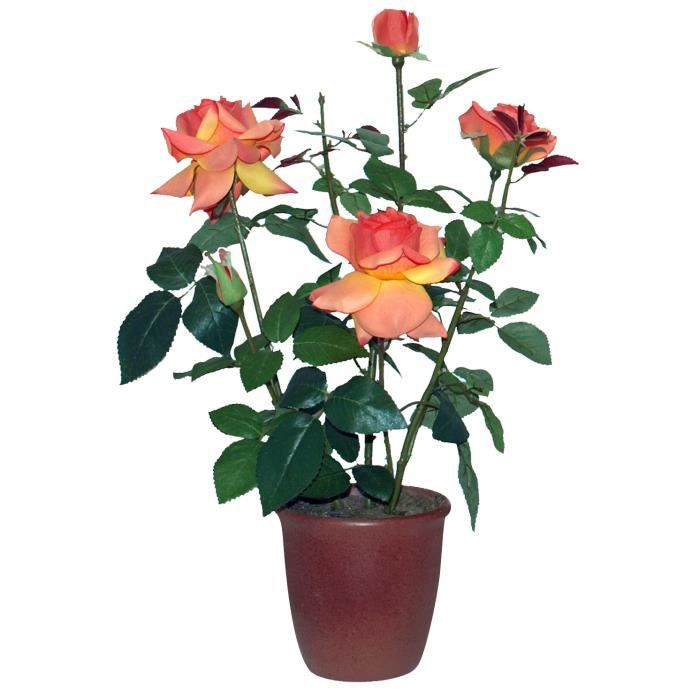 Rosier artificiel orange en pot achat vente fleur - Petit rosier en pot ...