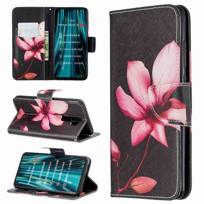 COQUE - BUMPER Coque XIAOMI Redmi Note 8 Pro,Lotus Antichoc Cuir
