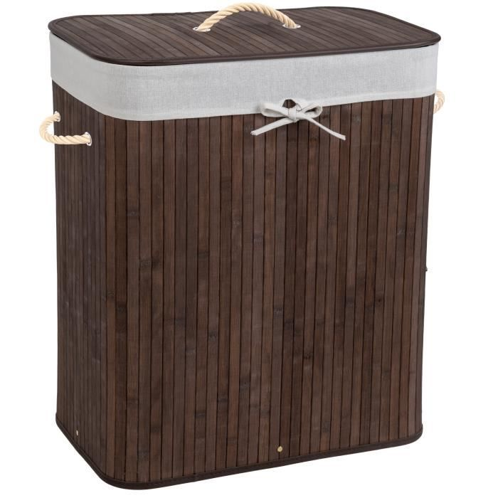 100L Meerveil Panier /à Linge Pliable en Bambou Corbeille /à Linge avec 2 Compartiments et Sac Amovible Lavable Naturelle