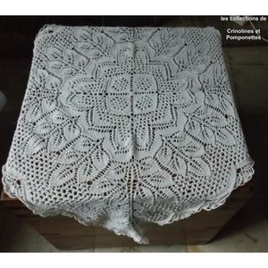 CHEMIN DE TABLE NAPPERON  CARRE DE TABLE FAIT MAIN TRICOT AUX AIGU