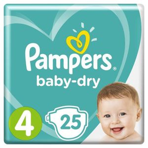 COUCHE PAMPERS Baby Dry Taille 4 - 8 à 16kg - 25 couches