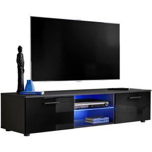 Wonderhome24 Meuble TV ou Meuble TV Mural avec LED - 240 cm RVB Gris Brillant jusqu/à TV 88