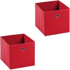 BOITE DE RANGEMENT Lot de 2 tiroirs en tissu rouge ELA boîte de range