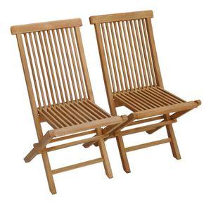 FAUTEUIL JARDIN  Lot de 2 chaises de jardin en teck LOMBOK