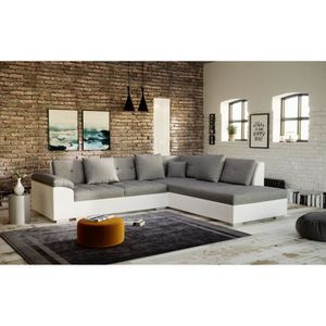 CANAPÉ - SOFA - DIVAN PORTOS canapé d'angle - angle droit - gris blanc