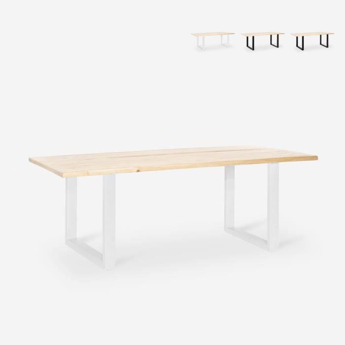 Table à manger rectangulaire 180x80 bois métal industriel Rajasthan 180 - couleur:Blanc