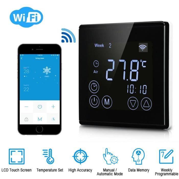 Wi-FI Thermostat Programmable Thermostat d'Ambiance Intelligent sans Fil avec Écran LCD Tactile - Noir